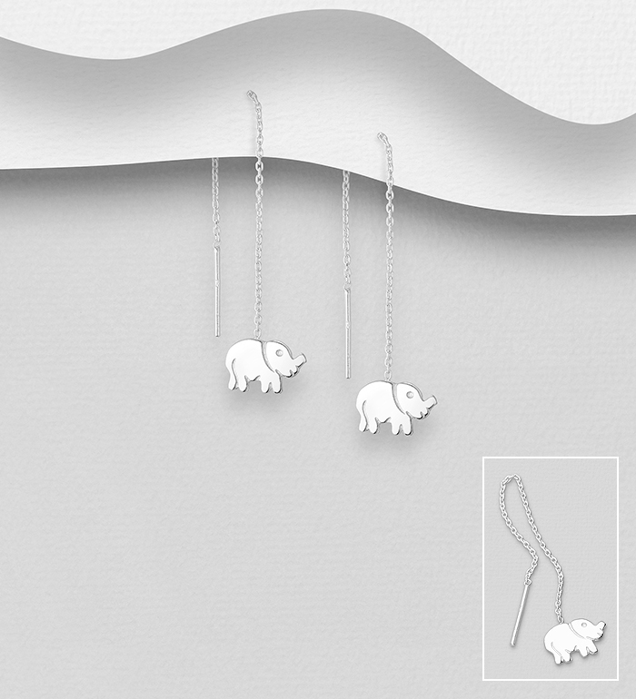 706-32676 - 925 Sterling Silver Elephant Threader Earrings