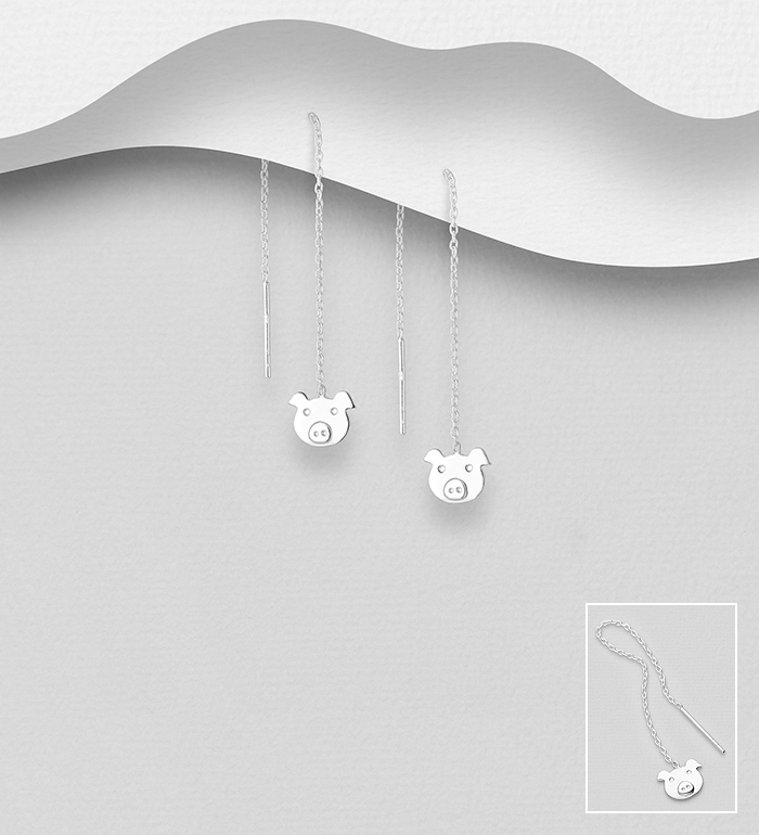 706-32677 - 925 Sterling Silver Pig Threader Earrings