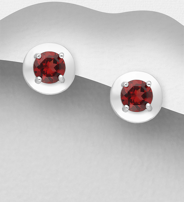 1181-4013 - La Preciada - 925 Sterling Silver Push-Back Earrings, Decorated with Garnet