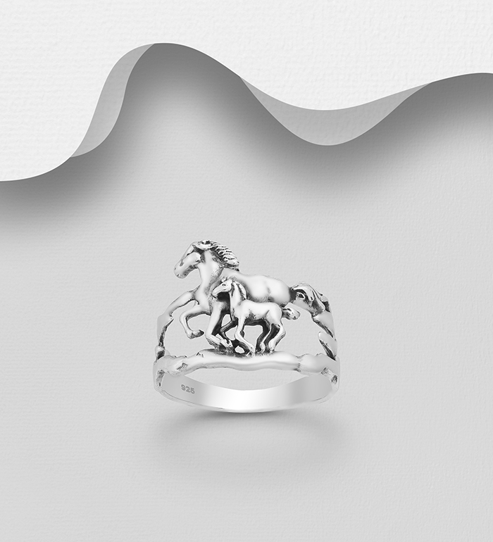 6-97 - 925 Sterling Silver Horse Ring