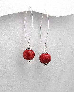 515-233 - 925 Sterling Silver Ball Hook Earrings Beaded With Sponge Coral