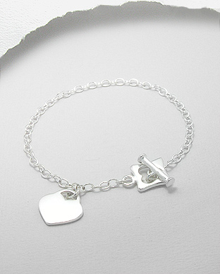 706-5167 - 925 Sterling Silver Heart Chain Bracelet