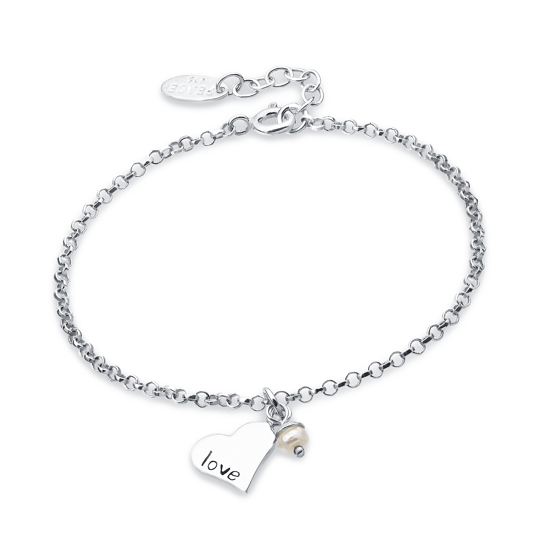 706-12196 - 925 Sterling Silver Heart And Love Bracelet Beaded With Fresh Water Pearls