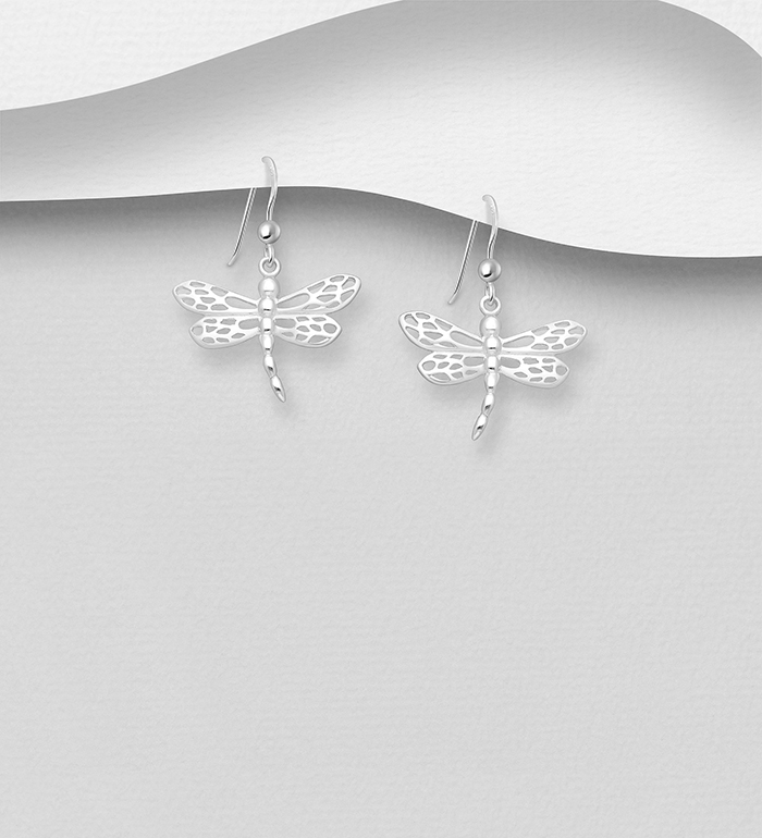 1063-590 - 925 Sterling Silver Dragonfly Hook Earrings, Plated With Pure Silver And E-Coat