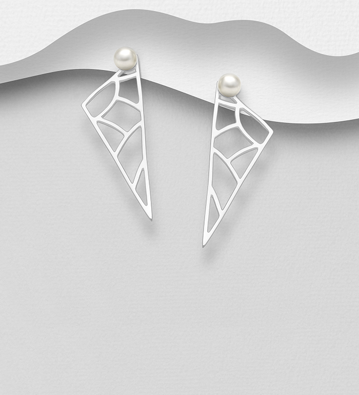 1063-1213 - 925 Sterling Silver Push-Back Earrings Decorated With Fresh Water Pearls