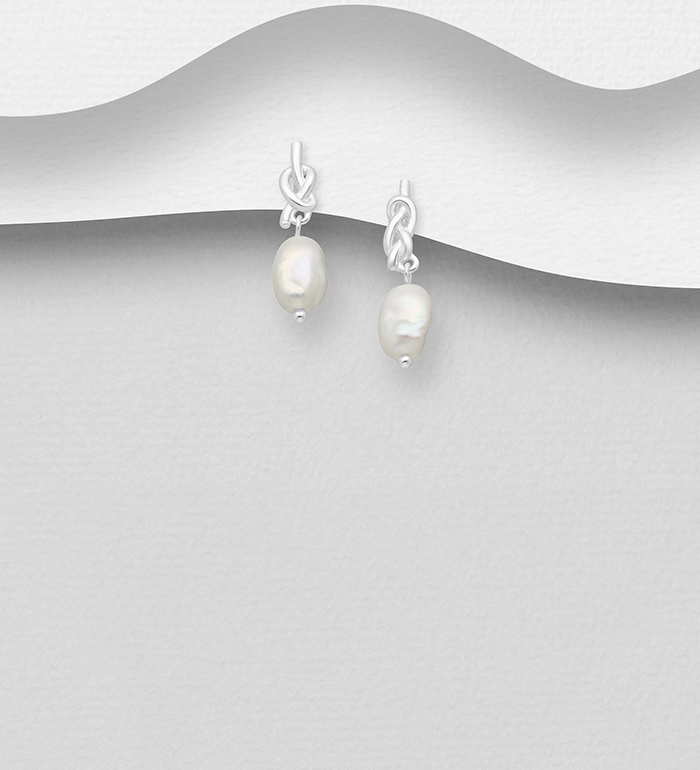 1063-2540 - 925 Sterling Silver Knot Push-Back Earrings, Beaded with Freshwater Pearls, Shape and Size Will Vary