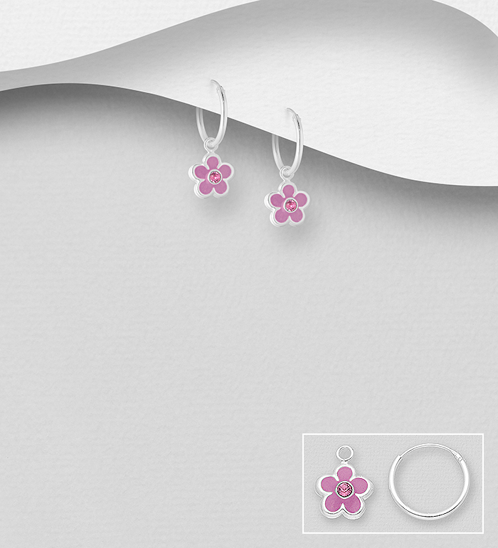 1068-1792 - 925 Sterling Silver Flower Earrings, Decorated with Various Colored Enamel and Crystal Glass