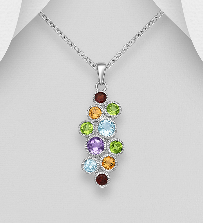 1181-943 - La Preciada - 925 Sterling Silver Pendant, Decorated with Various Gemstones. Gemstone Colors may Vary.