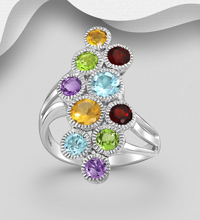1181-944 - La Preciada - 925 Sterling Silver Ring, Decorated with Various Gemstones, Gemstone Colors may Vary.