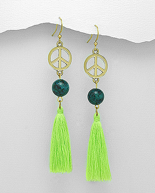 1333-663 - Tassel Hook Earrings Decorated With Azurite And Brass Peace Symbol