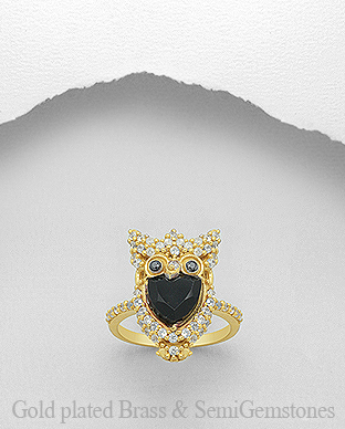 1406-288 - DESIRE by 7k - 18K 0.5 Micron Yellow Gold Over Solid Brass Owl Ring Decorated With CZ