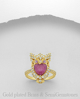 1406-288A - DESIRE by 7k - 18K 0.5 Micron Yellow Gold Over Solid Brass Owl Ring Decorated With CZ