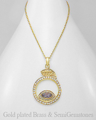 1406-292 - DESIRE by 7k - 18K 0.5 Micron Yellow Gold Over Solid Brass Leaf Necklace Decorated With CZ