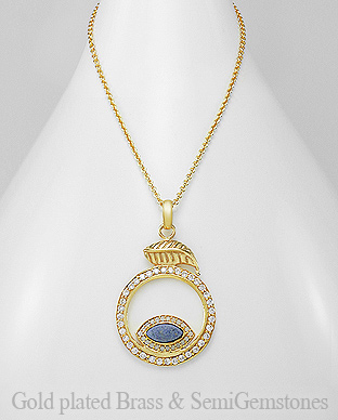 1406-292A - DESIRE by 7k - 18K 0.5 Micron Yellow Gold Over Solid Brass Leaf Necklace Decorated With CZ