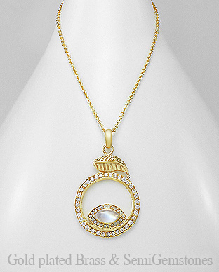1406-292B - DESIRE by 7k - 18K 0.5 Micron Yellow Gold Over Solid Brass Leaf Necklace Decorated With CZ