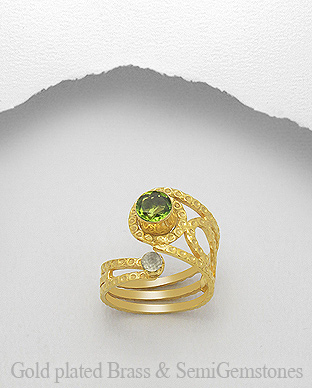 1406-311B - DESIRE by 7k - 18K 0.5 Micron Yellow Gold Over Solid Brass Ring Decorated With GemStones