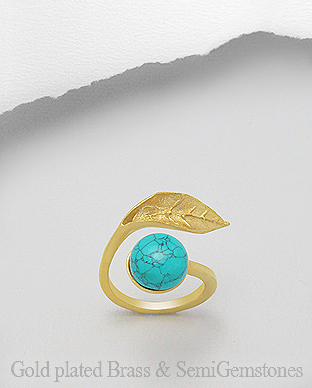 1406-313 - DESIRE by 7k - 18K 0.5 Micron Yellow Gold Over Solid Brass Leaf Ring Decorated With Semi GemStones
