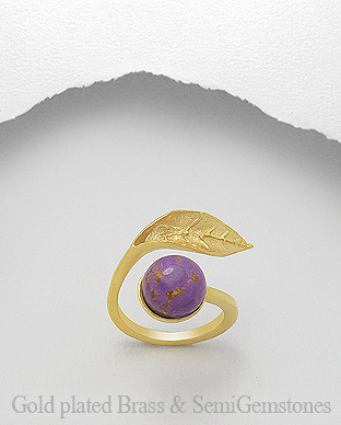 1406-313A - DESIRE by 7k - 18K 0.5 Micron Yellow Gold Over Solid Brass Leaf Ring Decorated With Semi GemStones