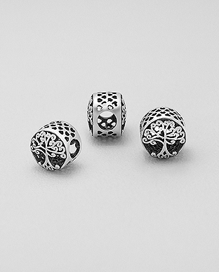1559-478 - 925 Sterling Silver Oxidized Tree of Life And Heart Bead