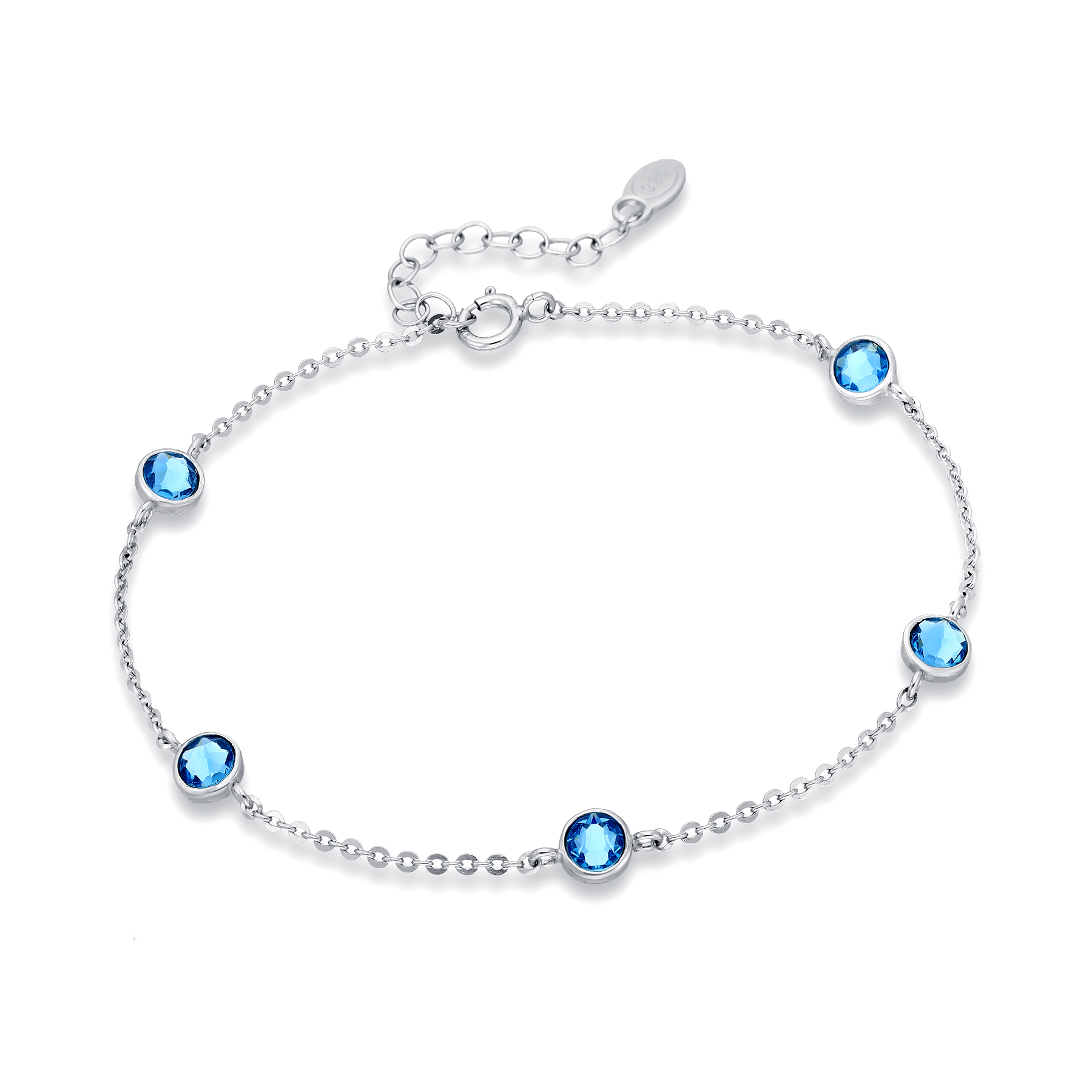 1583-352 - Sparkle by 7K - 925 Sterling Silver Bracelet Decorated With Verifiable Authentic Swarovski Crystals