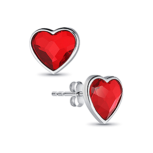 1583-147 - Sparkle by 7K - 925 Sterling Silver Heart Push-Back Earrings Decorated With Verifiable Authentic Swarovski Crystals