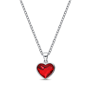 1583-389 - Sparkle by 7K - 925 Sterling Silver Heart Pendant Decorated With Verifiable Authentic Swarovski Crystal
