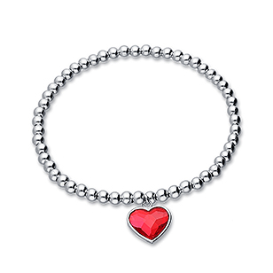 1583-387 - Sparkle by 7K - 925 Sterling Silver Ball Stretch Bracelet Featuring Heart Decorated With Verifiable Authentic Swarovski Crystal
