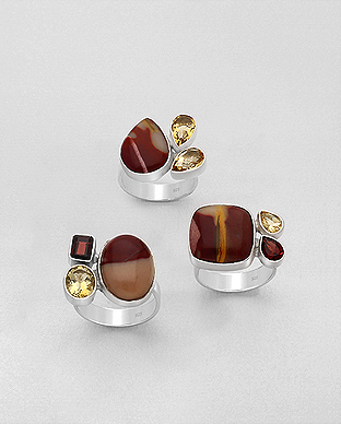1851-195 - JEWELLED - 925 Sterling Silver Ring Decorated with Mookaite Jasper, Citrine and Garnet . Handmade. Design, Shape and Size Will vary