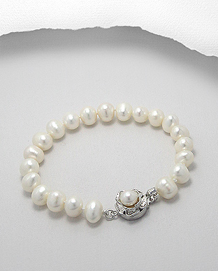 382-2427 - White Base Rose Bracelet Beaded With Fresh Water Pearls