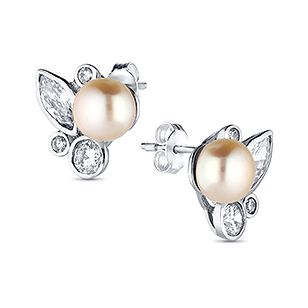 382-2681 - 925 Sterling Silver Earrings Decorated With CZ And Fresh Water Pearls