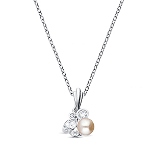 382-2682 - 925 Sterling Silver Pendant Decorated With CZ And Fresh Water Pearl