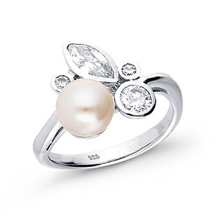 382-2683 - 925 Sterling Silver Ring Decorated With CZ And Fresh Water Pearl