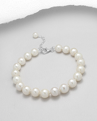 382-2771AAA - 925 Sterling Silver Bracelet Beaded With AAA Quality Fresh Water Pearls