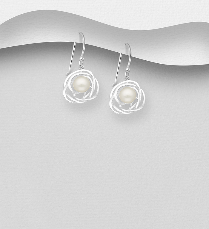 382-2985 - 925 Sterling Silver Hook Earrings Decorated With Fresh Water Pearl