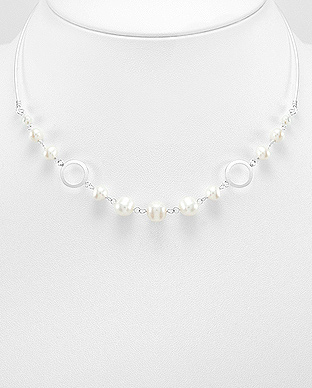 382-3390 - 925 Sterling Silver Necklace Beaded With Fresh Water Pearls