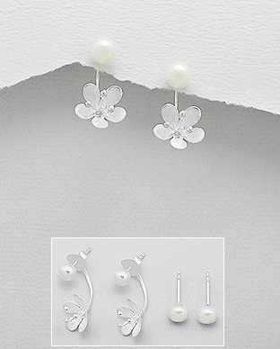 382-3470 - 925 Sterling Silver Flower Push-Back Earrings Decorated With Fresh Water Pearls