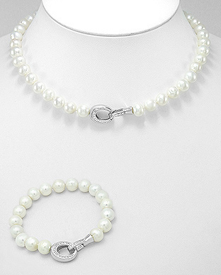382-3863 - Brass Set of Bracelet And Necklace Beaded WithFresh Water Pearls