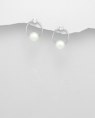 382-3983 - 925 Sterling Silver Push-Back Earrings Decorated With CZ And Fresh Water Pearls