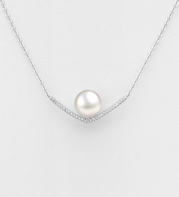 382-4165 - 925 Sterling Silver Necklace Decorated With CZ And Fresh Water Pearl