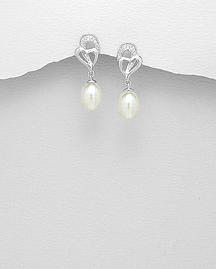 382-4206 - 925 Sterling Silver Heart Push-Back Earrings Decorated With CZ And Fresh Water Pearls