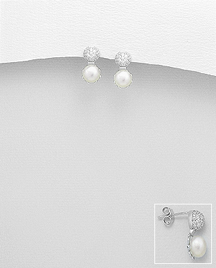 382-4522 - 925 Sterling Silver Push-Back Earrings Decorated With CZ And Fresh Water Pearls