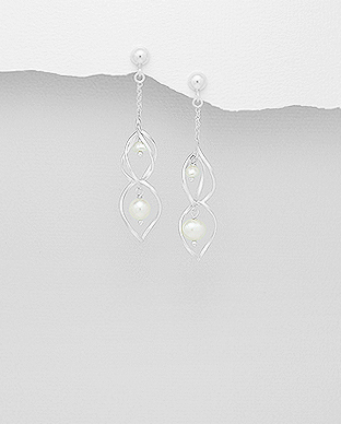 382-4564 - 925 Sterling Silver Spiral Push-Back Earrings Beaded with Freshwater Pearls