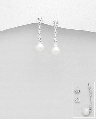 382-4604 - 925 Sterling Silver Heart Push-Back Earrings Decorated With CZ And Fresh Water Pearls