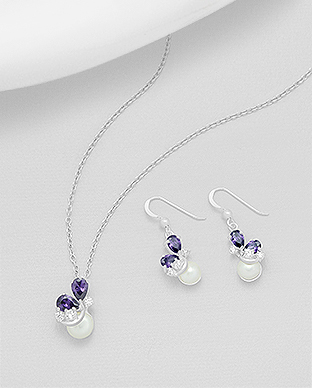 382-4721 - 925 Sterling Silver Hook Earrings And Pendant Decorated With CZ And Fresh Water Pearls