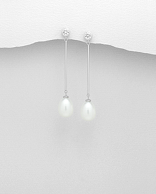 382-4731 - 925 Sterling Silver Push-Back Earrings Decorated With CZ And Fresh Water Pearls