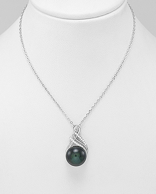 382-4853 - 925 Sterling Silver Necklace Decorated With CZ And Fresh Water Pearl