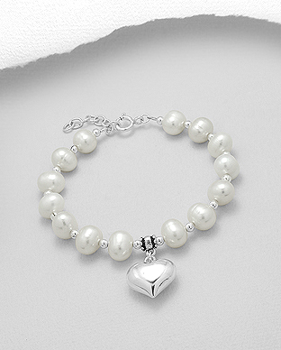 382-4890 - 925 Sterling Silver Heart Bracelet Beaded With Fresh Water Pearls