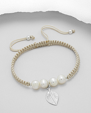 382-4977 - 925 Sterling Silver Leaf Adjustable Bracelet Beaded With Fresh Water Pearls