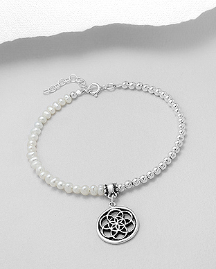 382-5012 - 925 Sterling Silver Flower Of Life Bracelet Beaded With Fresh Water Pearls