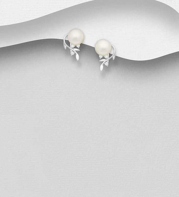 382-5042 - 925 Sterling Silver Leaf Push-back Earrings Decorated With  Fresh Water Pearl And CZ